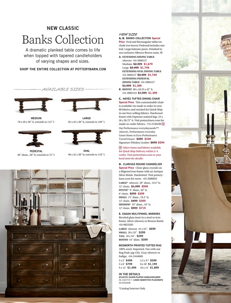 Pottery Barn – Spring 2017 D3 – Banks Extending Dining Table Inside Most Current Alfresco Brown Banks Pedestal Extending Dining Tables (View 13 of 25)