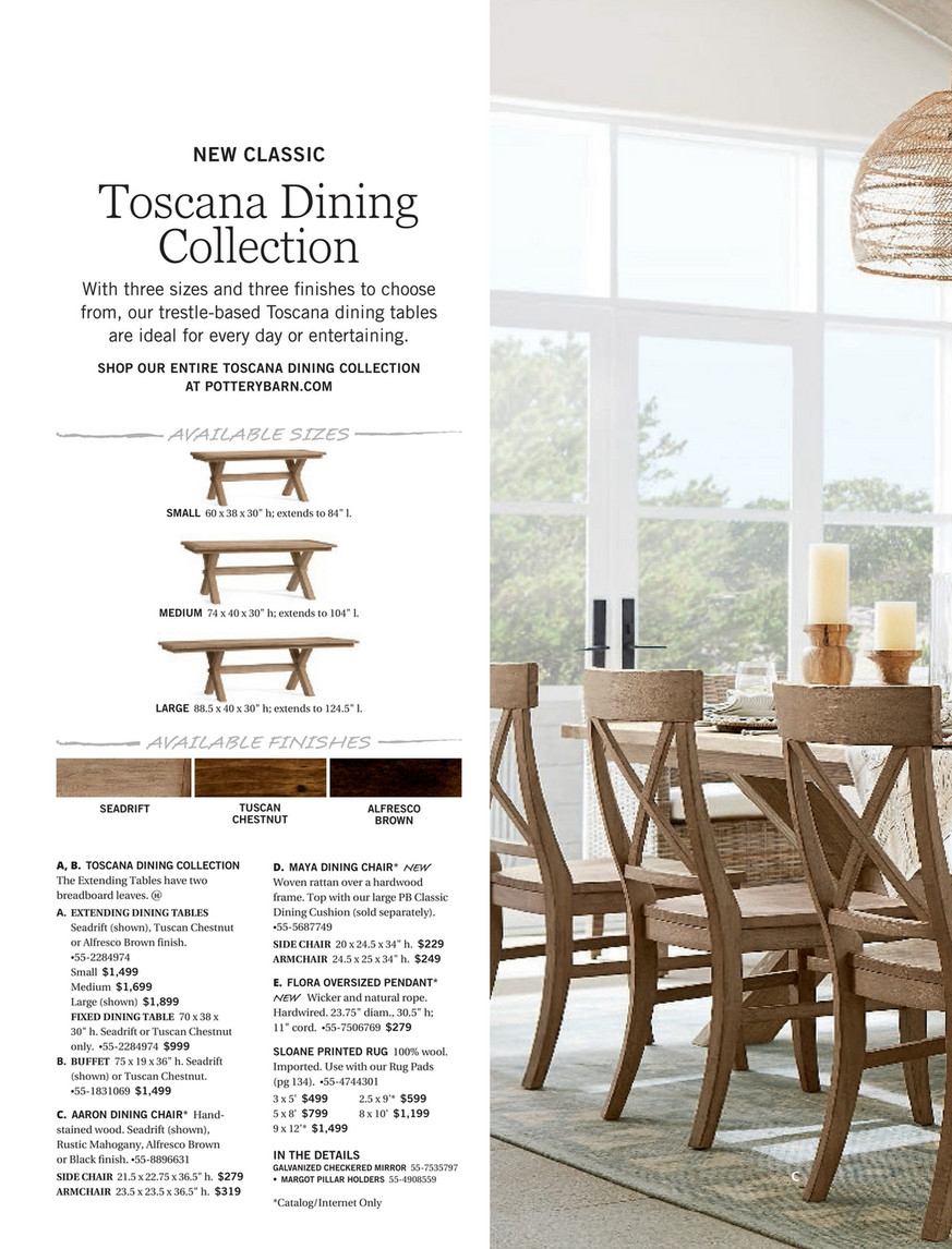 Pottery Barn – Summer 2017 D1 – Toscana Dining Table Regarding Most Popular Tuscan Chestnut Toscana Pedestal Extending Dining Tables (View 5 of 25)