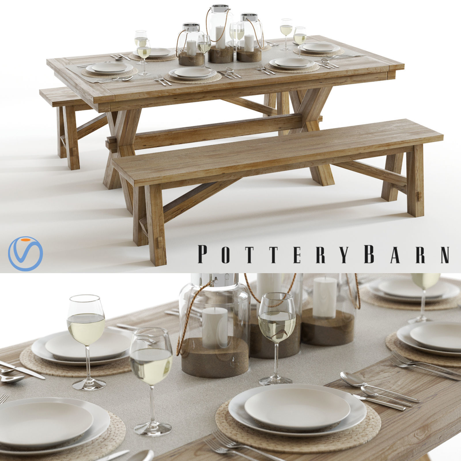Pottery Barn Toscana Set | 3D Model Inside Most Recent Seadrift Toscana Dining Tables (View 13 of 25)