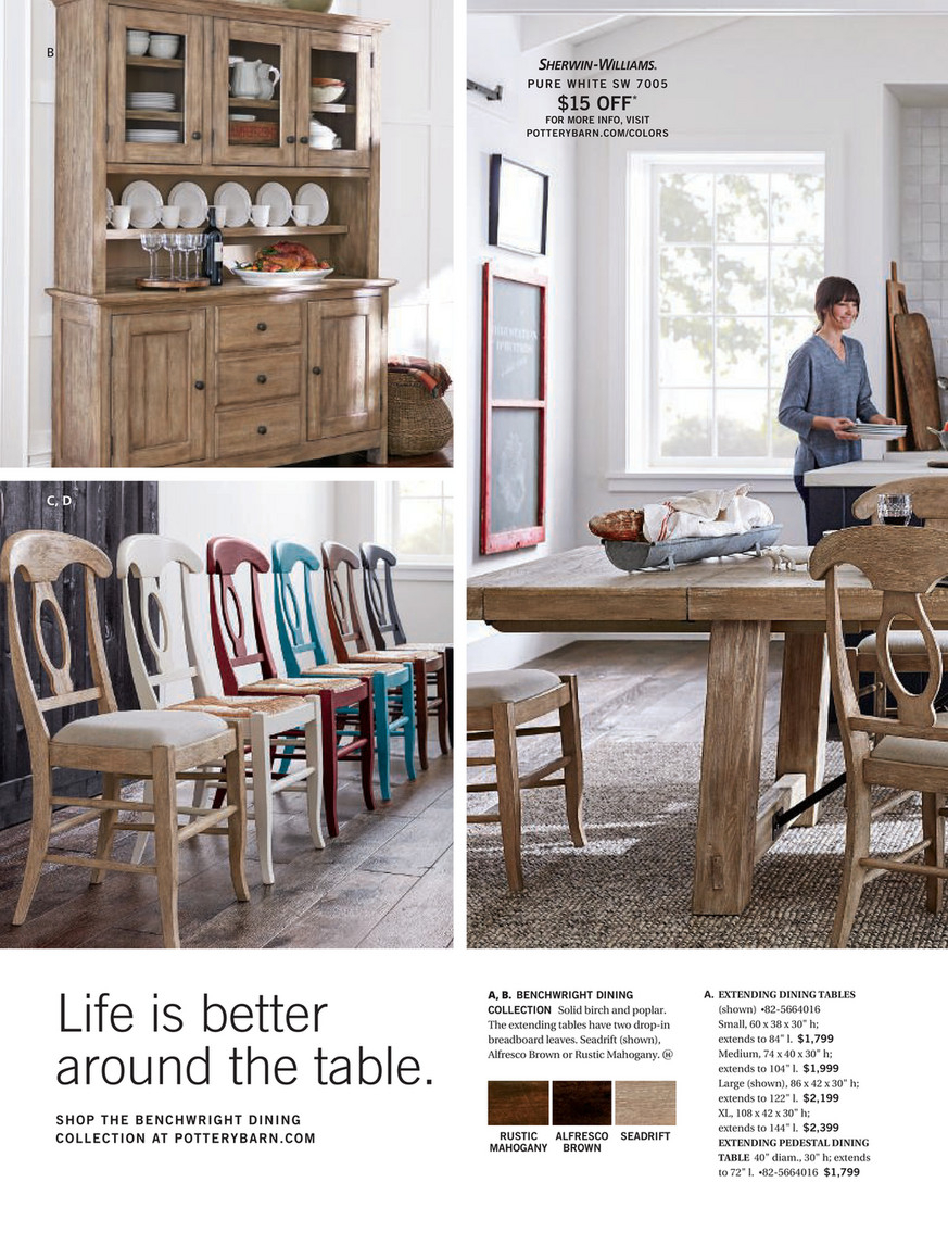 Pottery Barn – Winter 2018 D2 – Benchwright Buffet, Seadrift Within 2018 Rustic Mahogany Benchwright Pedestal Extending Dining Tables (View 7 of 25)