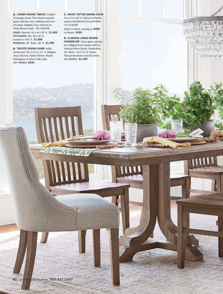 Pottery Barn – Winter 2018 D2 – Linden Pedestal Dining Table Inside Most Recently Released Hewn Oak Lorraine Pedestal Extending Dining Tables (View 7 of 25)