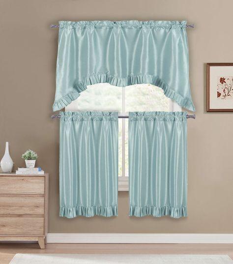 Premium Faux Silk Kitchen Window Curtain Drape Tier In Classic Kitchen Curtain Sets (View 9 of 25)