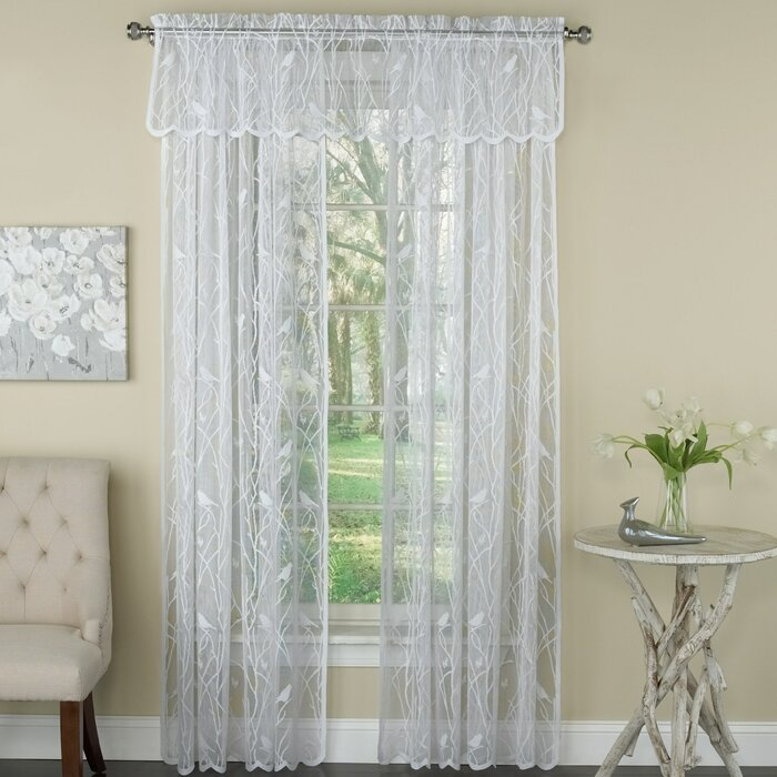 Prevatte Bird Song Lace Tier Pair Nature/floral Semi Sheer Rod Pocket Single Window Curtain Within Tranquility Curtain Tier Pairs (View 16 of 25)