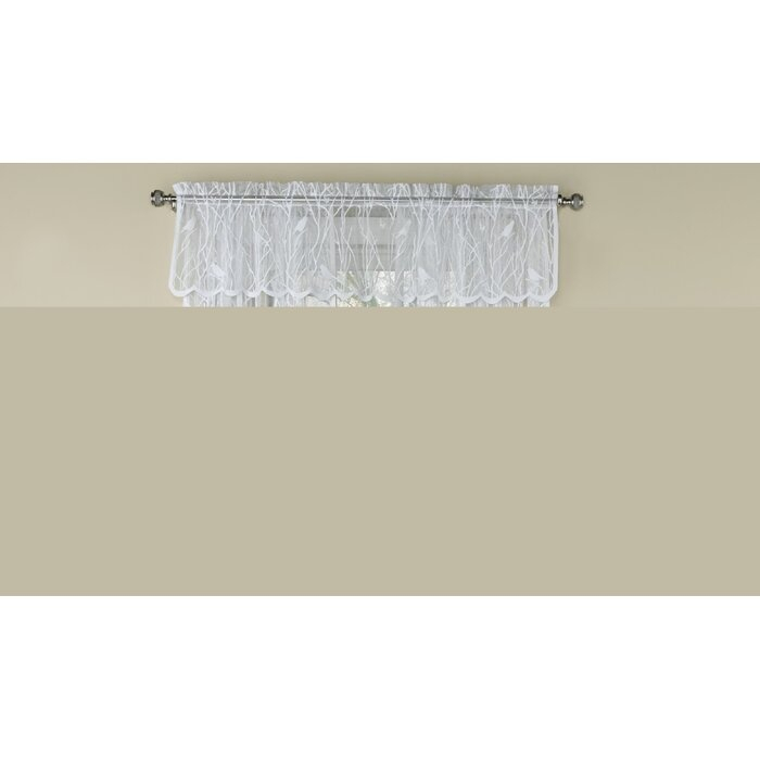 "Prevatte Bird Song Sheer Lace Tailored 56"" Window Valance Intended For White Knit Lace Bird Motif Window Curtain Tiers (View 19 of 25)"