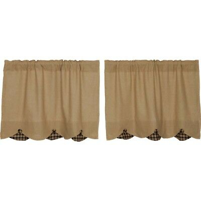 Primitive Kitchen Curtains Veranda Burlap Tan Check Tier Regarding Primitive Kitchen Curtains (View 11 of 25)