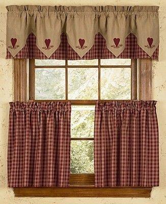 "Primitive Park Designs Sturbridge Plaid Tiers Wine 36"" Lined Inside Burgundy Cotton Blend Classic Checkered Decorative Window Curtains (View 25 of 25)"