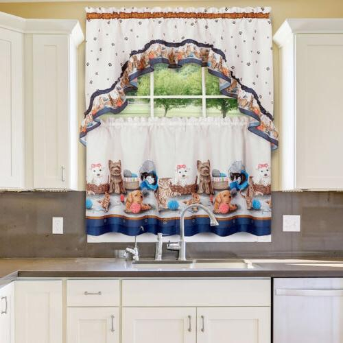 Printed Kitchen Curtain Tier And Swag Se Intended For Cottage Ivy Curtain Tiers (View 20 of 25)