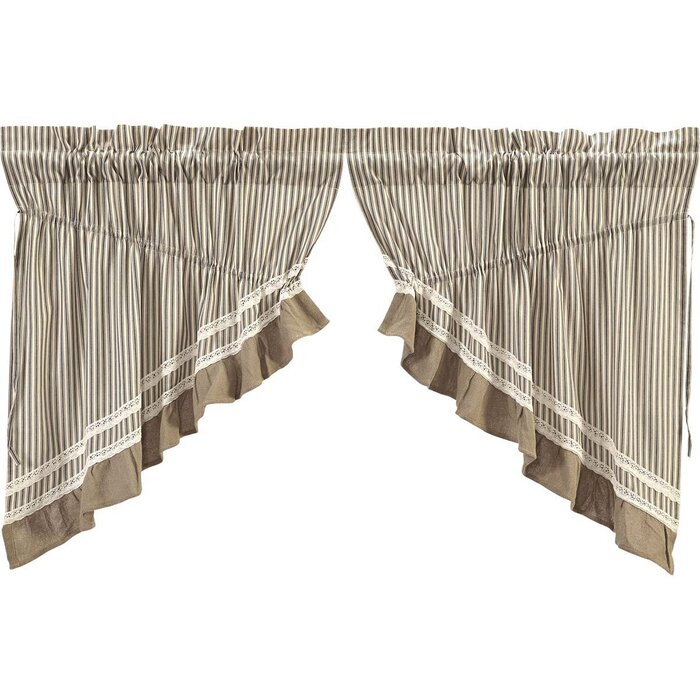 Printers Row Stripe Lined Swag Cotton Kitchen Curtain Throughout Rod Pocket Cotton Striped Lace Cotton Burlap Kitchen Curtains (View 10 of 25)