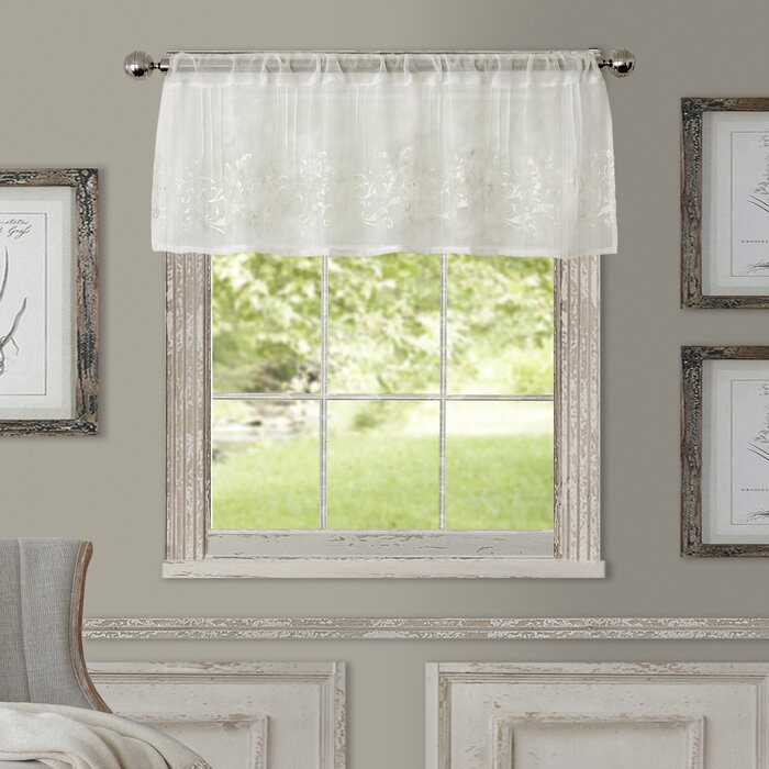 "Purkey 60"" Window Valance Intended For White Tone On Tone Raised Microcheck Semisheer Window Curtain Pieces (Image 16 of 25)"