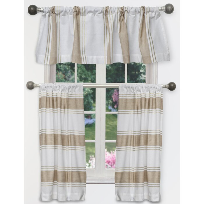Raci Tier 3 Piece Curtain Set Pertaining To Scroll Leaf 3 Piece Curtain Tier And Valance Sets (View 10 of 25)