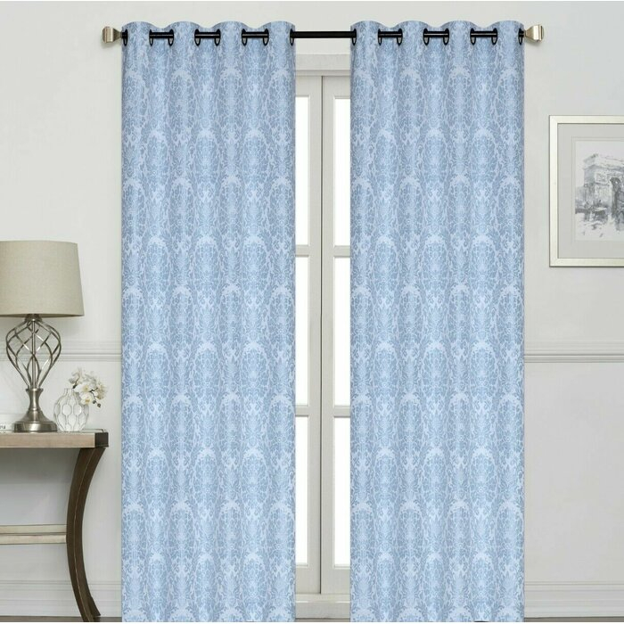 Ramsay Raised Damask Jacquard Geometric Room Darkening Grommet Curtain Panels For Pastel Damask Printed Room Darkening Kitchen Tiers (View 14 of 25)