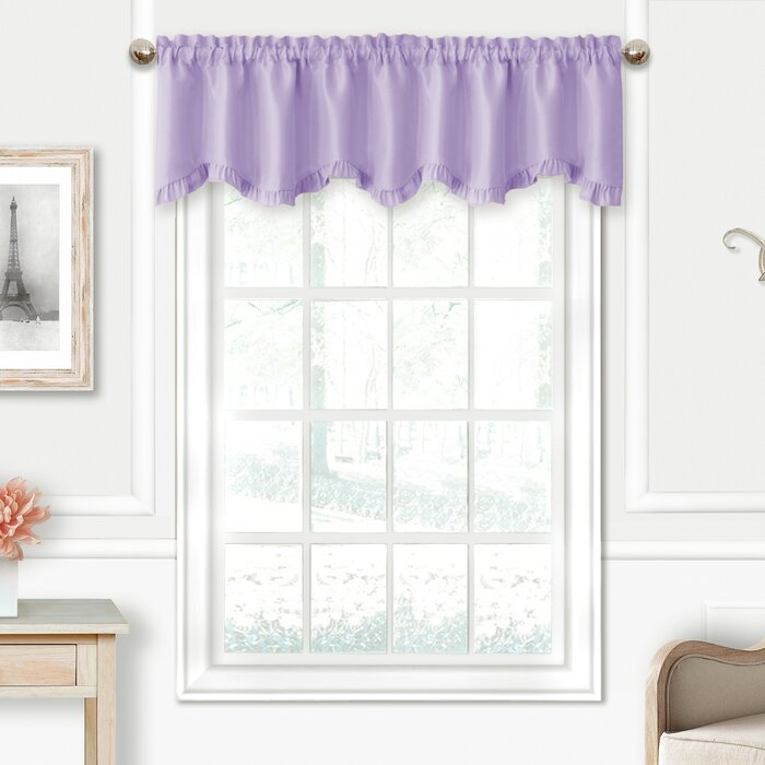 "Ransdell 52"" Window Valance Inside White Tone On Tone Raised Microcheck Semisheer Window Curtain Pieces (Image 17 of 25)"