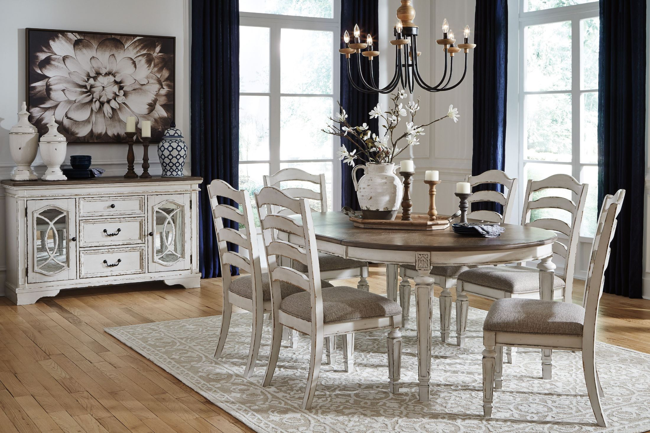 Realyn White Oval Extendable Dining Room Set From Ashley Within 2018 Ingred Extending Dining Tables (View 4 of 25)