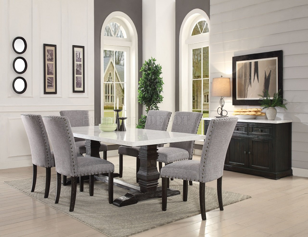 Recusson Marble Top Dining Table 60825 In Dark Oakacme In Newest Nolan Round Pedestal Dining Tables (View 20 of 25)