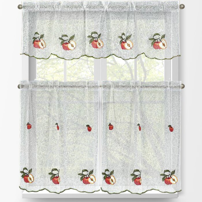 Red Apples 3 Piece Embroidered Kitchen Tier And Valance Set Intended For Red Delicious Apple 3 Piece Curtain Tiers (View 8 of 25)
