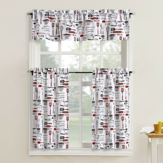 Red Black White Utensil Print 3Pc Kitchen Curtains Set Valance Tiers Cafe Pertaining To Kitchen Burgundy/white Curtain Sets (View 23 of 25)
