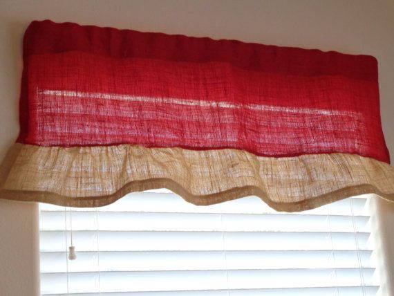 Red Burlap With A Natural Burlap Handmade Ruffle Valance, 17 Inside Bermuda Ruffle Kitchen Curtain Tier Sets (Image 17 of 25)