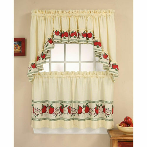 Red Delicious Tailored Tier And Swag Curtain Panel Set | Ebay Throughout Cotton Blend Ivy Floral Tier Curtain And Swag Sets (View 6 of 25)