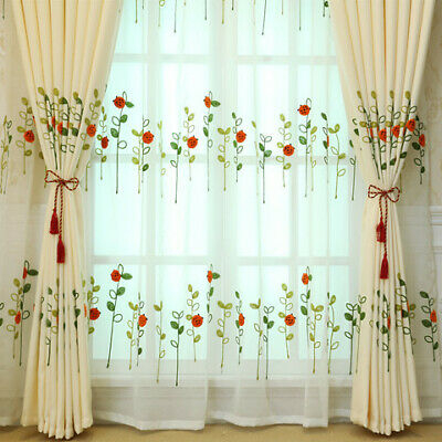Red Ladybird Designs Green Leaf Embroidery On White Lace Sheer Curtain Boy Play | Ebay Throughout Embroidered Ladybugs Window Curtain Pieces (View 21 of 25)