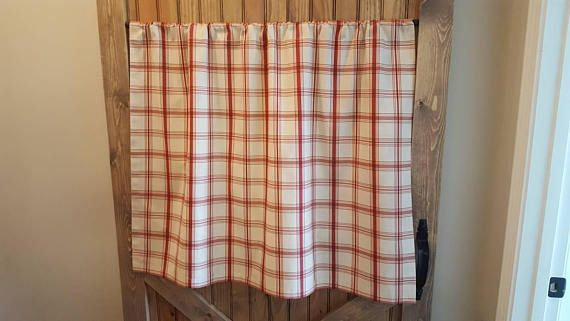 Red Plaid Kitchen Cafe Curtains/ Country Curtains/ Kitchen Intended For Lodge Plaid 3 Piece Kitchen Curtain Tier And Valance Sets (View 12 of 25)