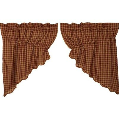 Red Primitive Kitchen Curtains Cody Burgundy Check Prairie Swag Pair Cotton  | Ebay Within Red Primitive Kitchen Curtains (Image 18 of 25)