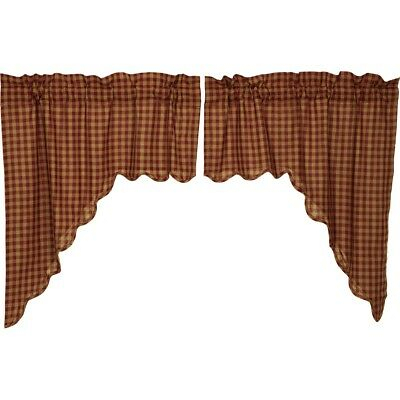 Red Primitive Kitchen Curtains Cody Burgundy Check Swag Pair Rod Pocket |  Ebay With Regard To Red Primitive Kitchen Curtains (Image 19 of 25)
