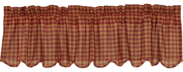 Red Primitive Kitchen Curtains Cody Burgundy Check Valance Rod Pocket Cotton With Regard To Primitive Kitchen Curtains (View 14 of 25)