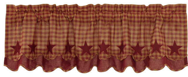Red Primitive Kitchen Curtains Cody Burgundy Star Valance Rod Pocket Cotton  Star Throughout Red Primitive Kitchen Curtains (Image 20 of 25)