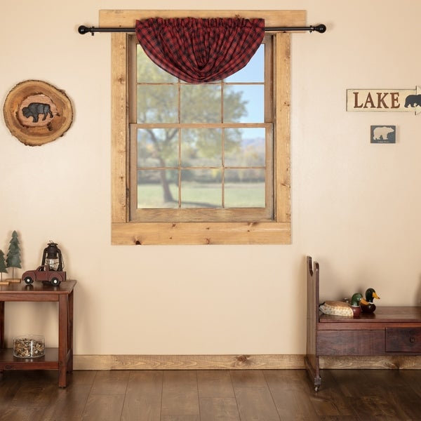 Red Rustic Kitchen Curtains Vhc Cumberland Balloon Valance Rod Pocket Cotton Buffalo Check – Balloon Valance 60X15 Inside Rustic Kitchen Curtains (View 6 of 25)