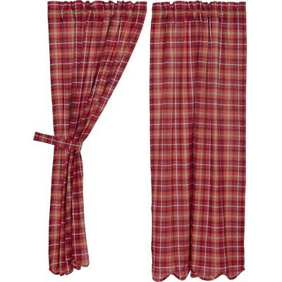 Red Rustic & Lodge Curtains Harvey Cabin Panel Pair Rod Pocket Cotton Plaid | Ebay Throughout Cumberland Tier Pair Rod Pocket Cotton Buffalo Check Kitchen Curtains (View 19 of 25)