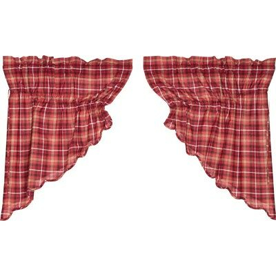 Red Rustic & Lodge Kitchen Curtains Harvey Cabin Prairie Swag Pair Cotton | Ebay For Red Rustic Kitchen Curtains (View 21 of 25)