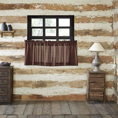 Red Rustic & Lodge Kitchen Curtains Kilton Red Tier Pair Rod Pocket Cotton  | Ebay Regarding Red Rustic Kitchen Curtains (Image 21 of 25)