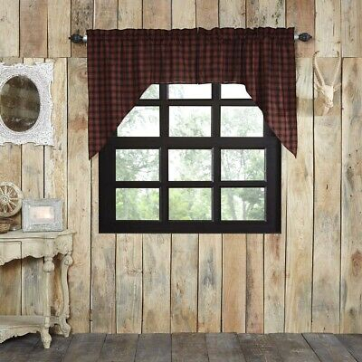 Red Rustic & Lodge Kitchen Curtains Shasta Cabin Swag Pair Rod Pocket 840528161612 | Ebay Intended For Cumberland Tier Pair Rod Pocket Cotton Buffalo Check Kitchen Curtains (View 13 of 25)