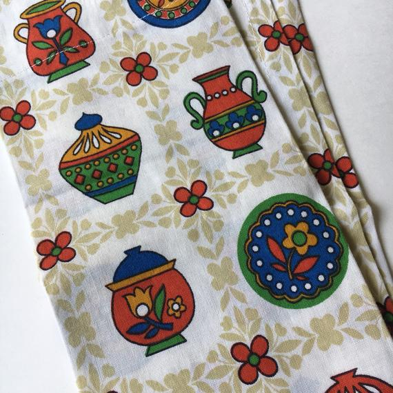 Reduced Five Piece Set Small Vintage Rod Pocket Curtains And Tablecloth Danish Modern Kitchen Vase Dish Motif Floral Multicolour Throughout Embroidered Floral 5 Piece Kitchen Curtain Sets (View 14 of 25)