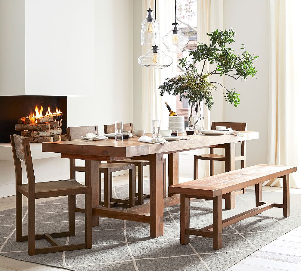 Reed Extending Dining Table, Antique Umber – Small Space Intended For Latest Driftwood White Hart Reclaimed Pedestal Extending Dining Tables (Image 13 of 25)