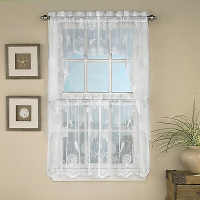 Reef Marine White Knit Lace Kitchen Curtains Choice Of Tier, Valance Or Swag | Ebay Throughout White Knit Lace Bird Motif Window Curtain Tiers (View 7 of 25)