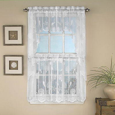 Reef Marine White Knit Lace Kitchen Curtains Choice Of Tier, Valance Or  Swag | Ebay Within Ivory Knit Lace Bird Motif Window Curtain (Image 18 of 25)