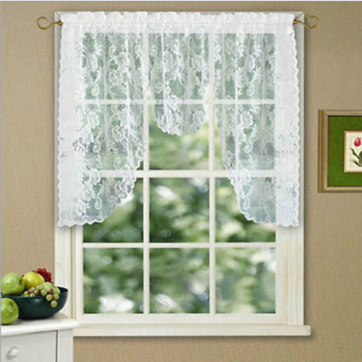 Reef Marine White Knit Lace Kitchen Curtains Choice Of Tier With Marine Life Motif Knitted Lace Window Curtain Pieces (View 5 of 25)