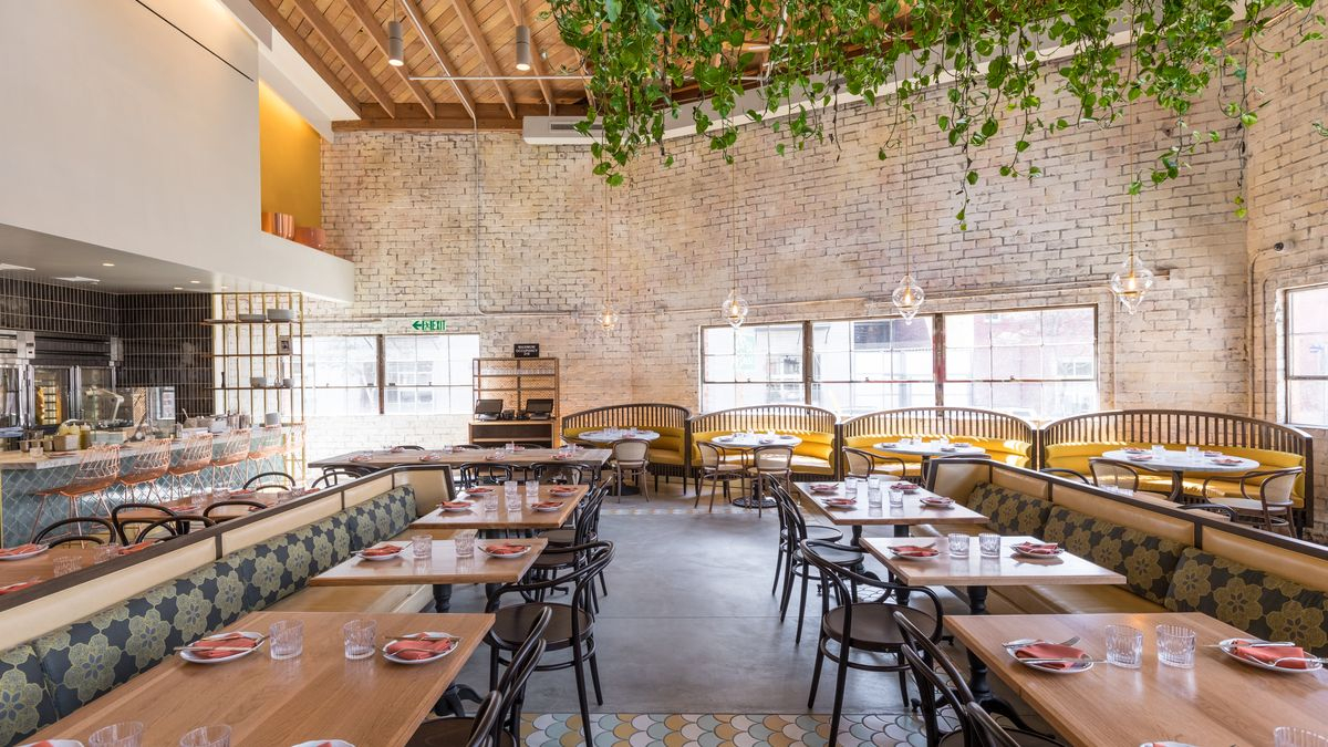 Restaurant Trend: Bavel Embraces Plants, White Marble, And In Most Current Rae Round Marble Bistro Tables (View 23 of 25)