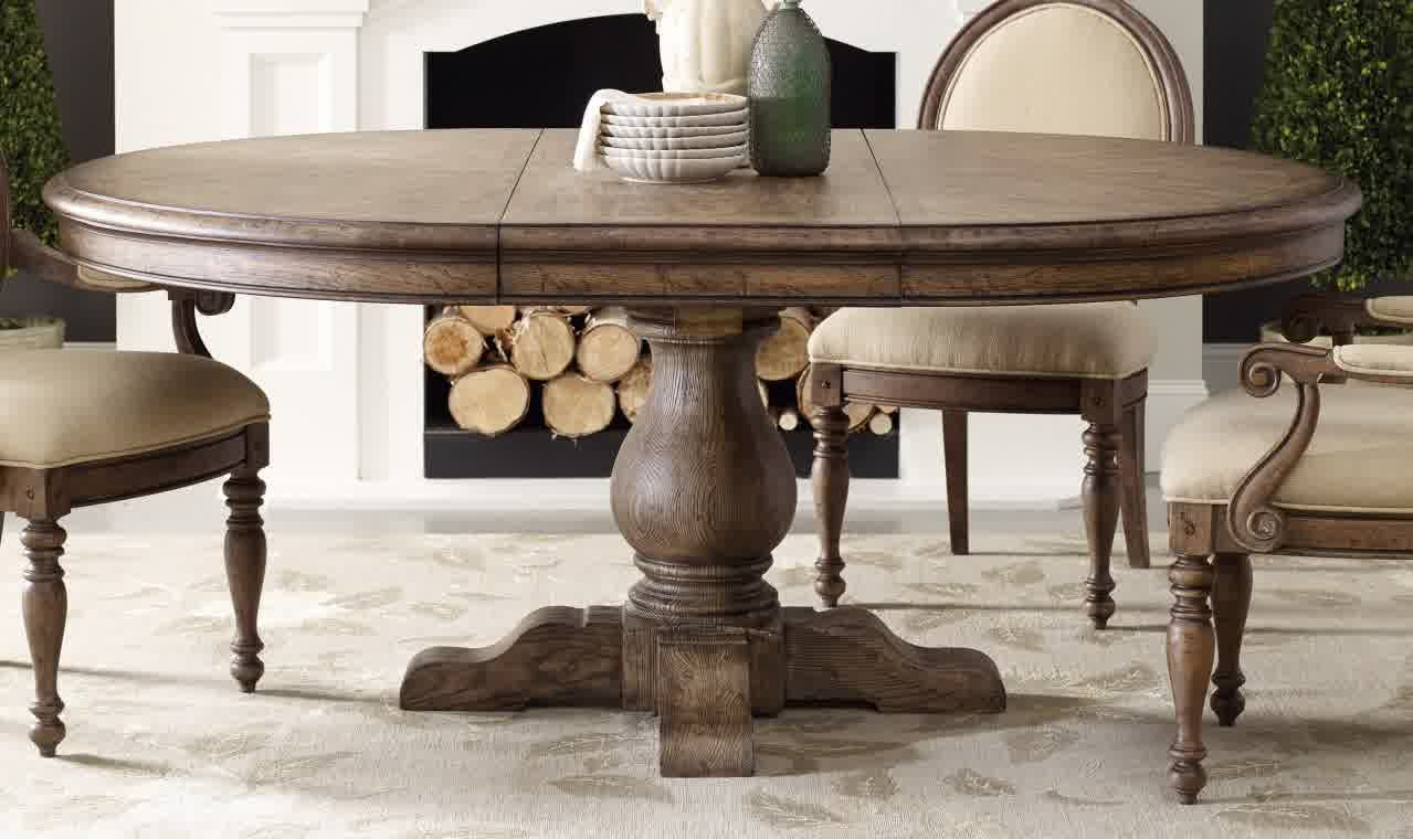 Retro French Style Dining Table | Furniture Design Ideas In Newest Hewn Oak Lorraine Pedestal Extending Dining Tables (View 10 of 25)