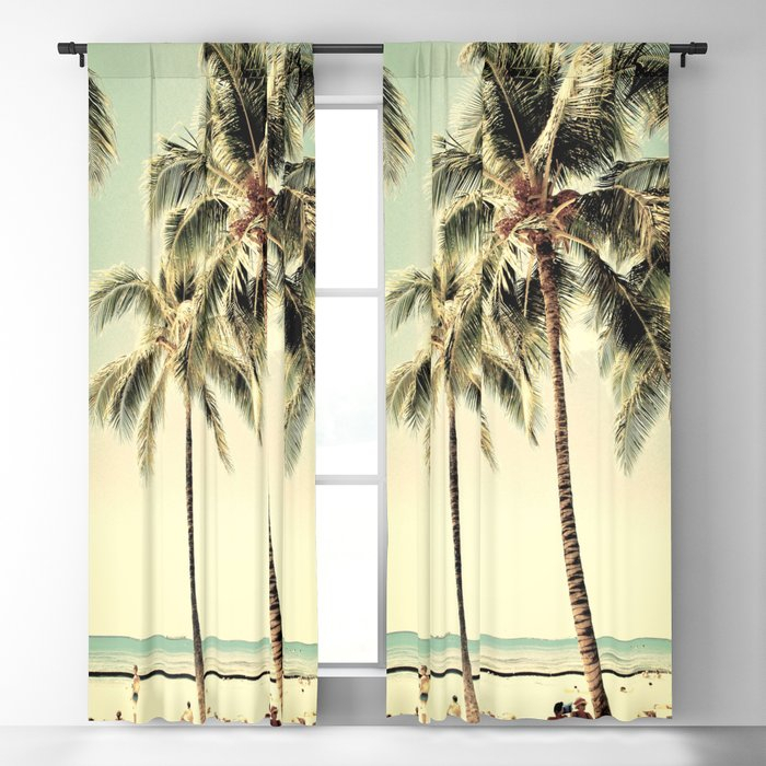Retro Vintage Palm Tree With Hawaii Summer Sea Beach Blackout Curtain Lifeisbeautiful Throughout Vintage Sea Shore All Over Printed Window Curtains (Image 19 of 25)