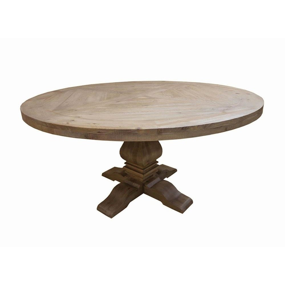 Rhea Classic Round Rustic Smoke Wood Dining Table Throughout Most Recently Released Rustic Mahogany Benchwright Dining Tables (View 19 of 25)
