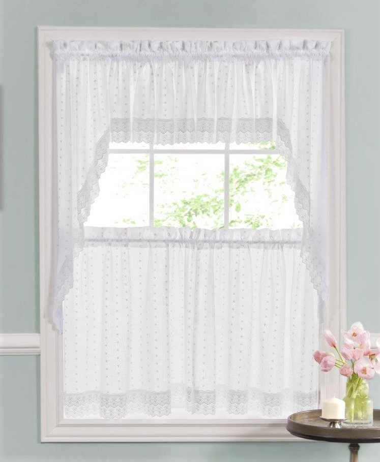 Ribbon Eyelet Embroidered Kitchen Curtain – White Intended For Semi Sheer Rod Pocket Kitchen Curtain Valance And Tiers Sets (Image 17 of 25)