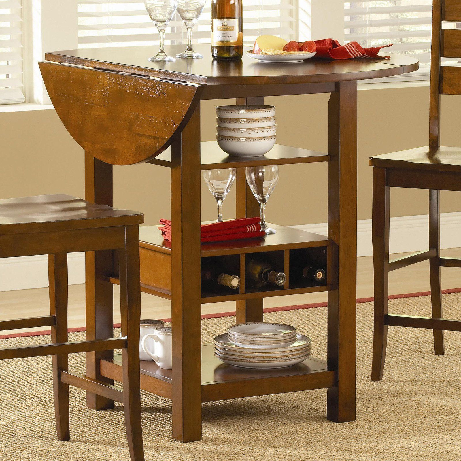 Ridgewood Counter Height Drop Leaf Dining Table With Storage In 2018 Mahogany Shayne Drop Leaf Kitchen Tables (View 7 of 25)