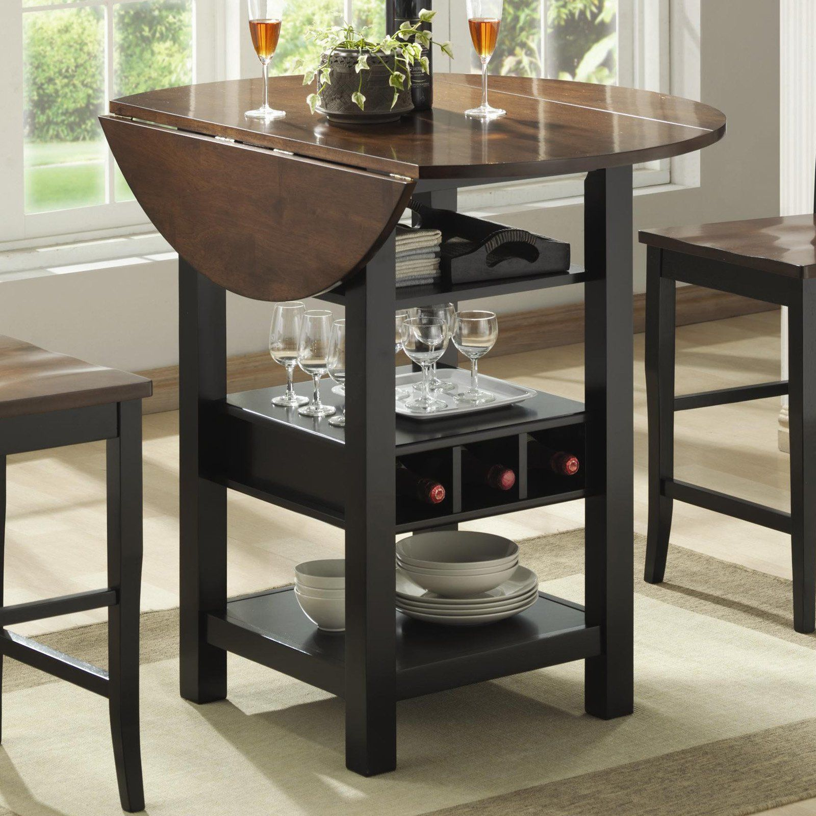 Ridgewood Counter Height Drop Leaf Dining Table With Storage With Regard To 2018 Black Shayne Drop Leaf Kitchen Tables (View 8 of 25)