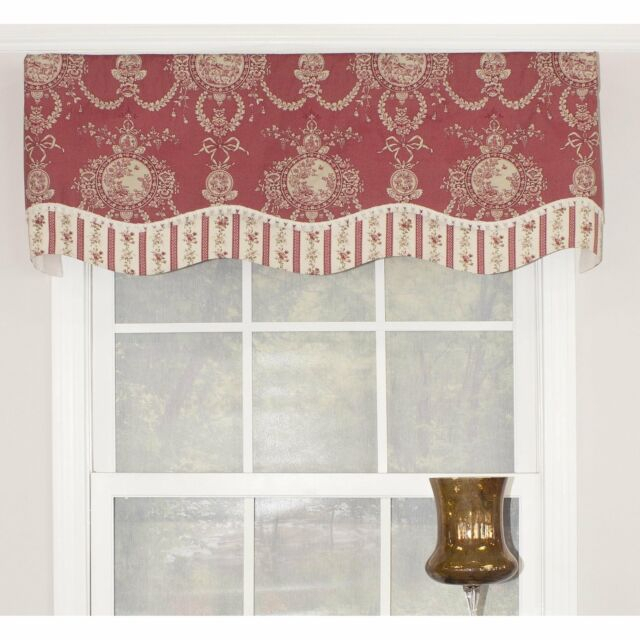 """Rlf Home Cameo Toile Glory 50"""" Window Valance – Red Red, Cream, Off White Horizo In Aviary Window Curtains (View 9 of 25)"""