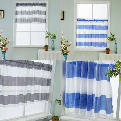 Rod Pocket Half Curtain Striped Window Valance Sheer Voile For Linen Stripe Rod Pocket Sheer Kitchen Tier Sets (View 24 of 25)