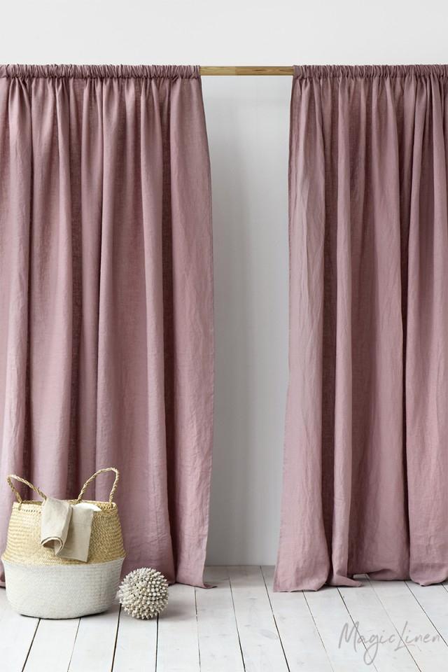 Rod Pocket Linen Curtains | Magiclinen Regarding Linen Stripe Rod Pocket Sheer Kitchen Tier Sets (View 25 of 25)