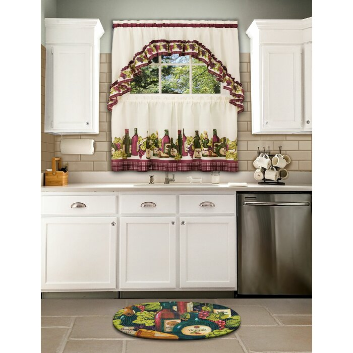 Rodrick 3 Piece Chardonnay – Printed Tier And Swag Window Curtain Set Within Chardonnay Tier And Swag Kitchen Curtain Sets (View 20 of 25)
