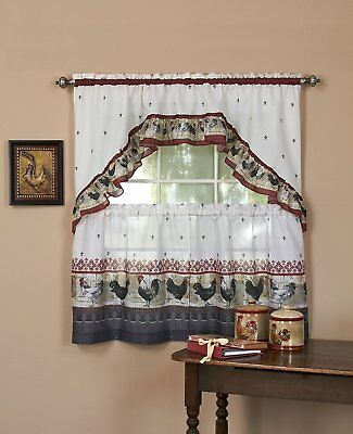 Rooster Complete Kitchen Curtain Tier And Swag Set – Assorted Sizes Intended For Delicious Apples Kitchen Curtain Tier And Valance Sets (Image 21 of 25)